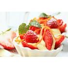 Creamy pudding with fresh fruit