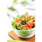 Salad greens with asparagus and smoked salmon