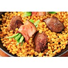 Pan fried chicken liver with sweetcorn and green beans in bacon
