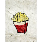 French fries painted on a wall
