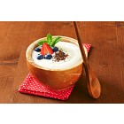 Smooth semolina porridge with fresh fruit and chocolate