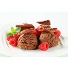 Chocolate ice cream with fresh raspberries
