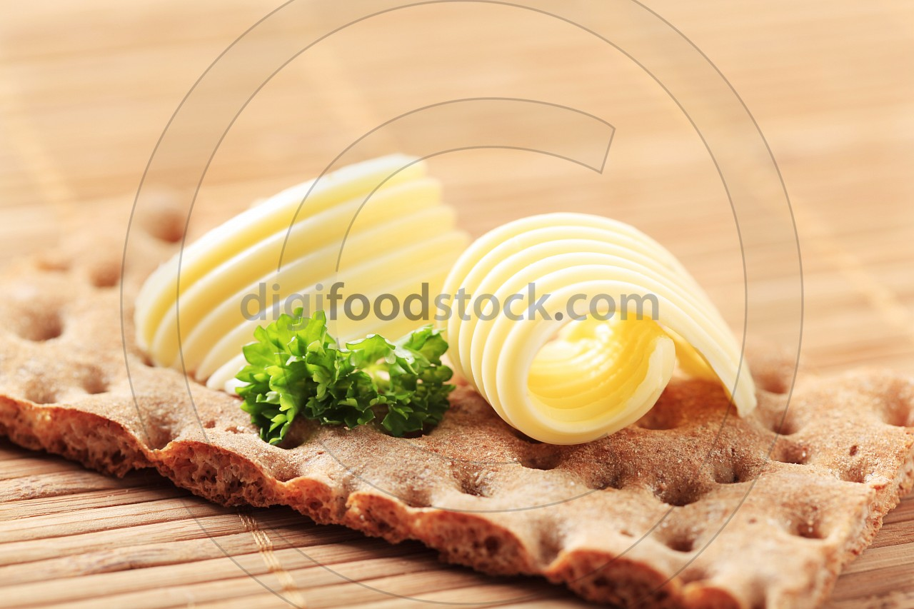 Brown cracker and butter