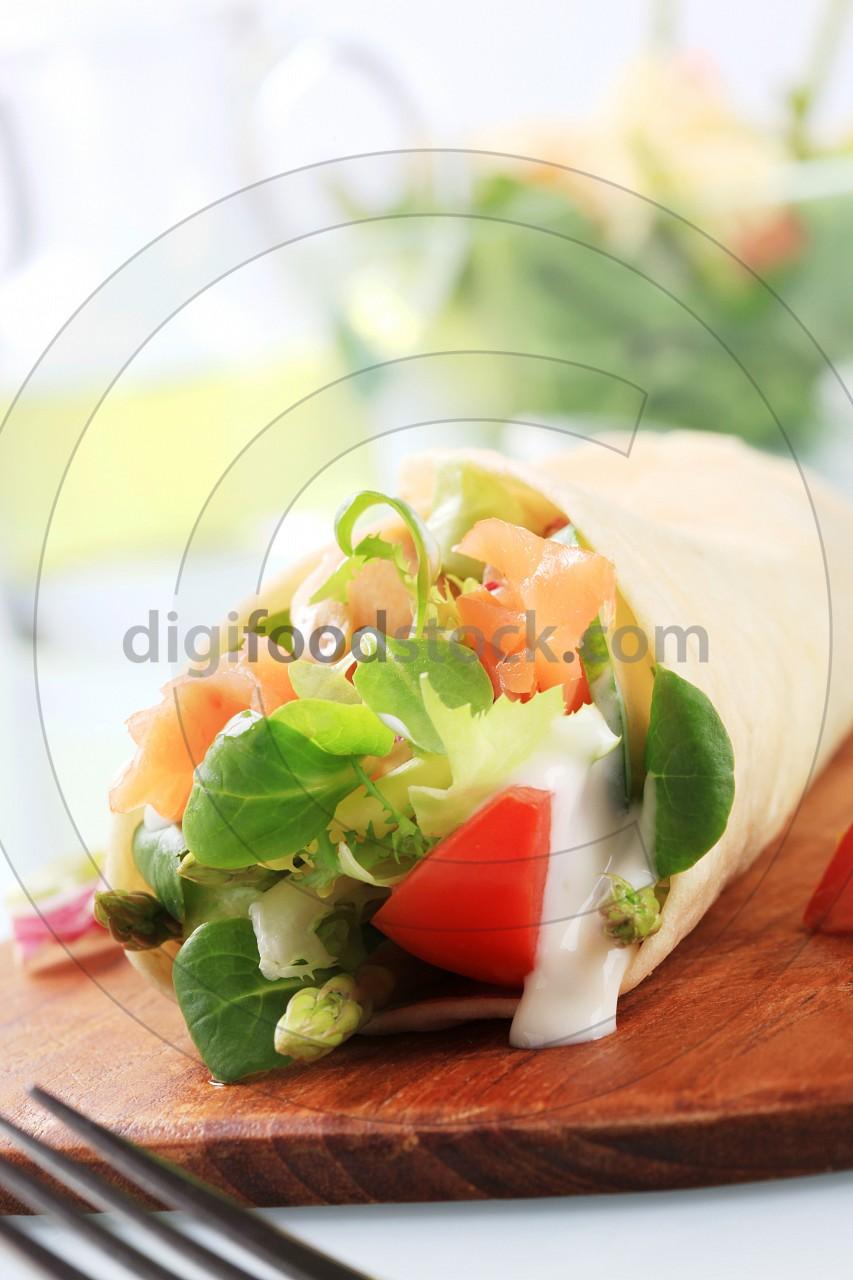 Salmon wrap sandwich