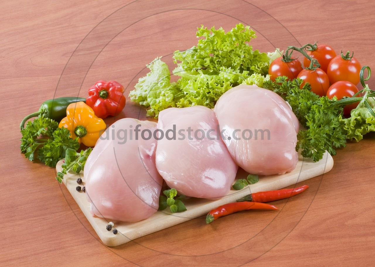 Raw chicken breast fillets